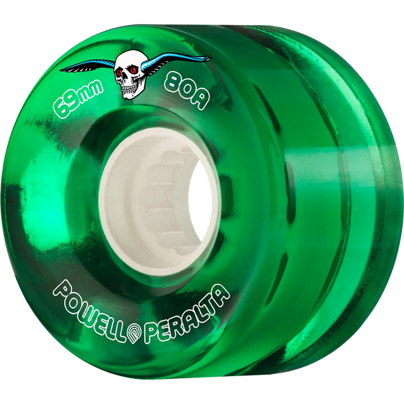 Powell Peralta Clear Cruiser 69mm 80a Green Longboard Wheels (Set of 4)