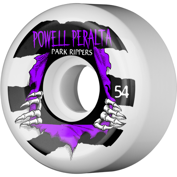 Powell Peralta Park Ripper II 54mm White W/Purple Skateboard Wheels (Set of 4)