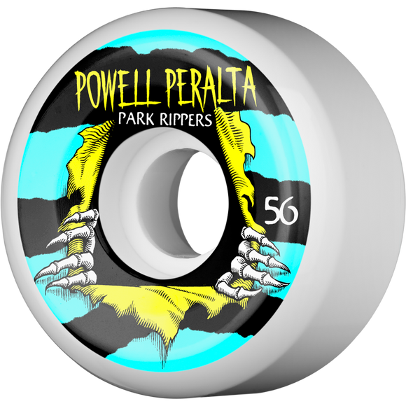 Powell Peralta Park Ripper II 56mm White W/Blue/Yellow Skateboard Wheels (Set of 4)