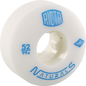 Ricta Naturalurals 99a 52mm White W/Blue Skateboard Wheels (Set of 4) | Universo Extremo Boards Skate & Surf