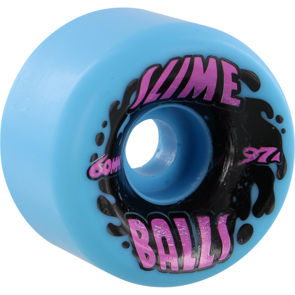 Santa Cruz Slimeballs Vomits Splat 60mm 97a Neon Blue Skateboard Wheels Set of 4