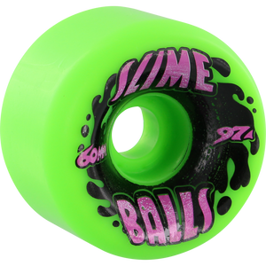 Santa Cruz Slimebals Vomits Splat 60mm 97a Neon Green Skateboard Wheels Set of 4