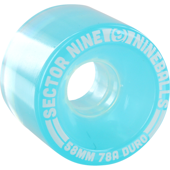 Sector 9 9 Ball 58mm 78a Clear Light Blue Skateboard Wheels (Set of 4) | Universo Extremo Boards Skate & Surf