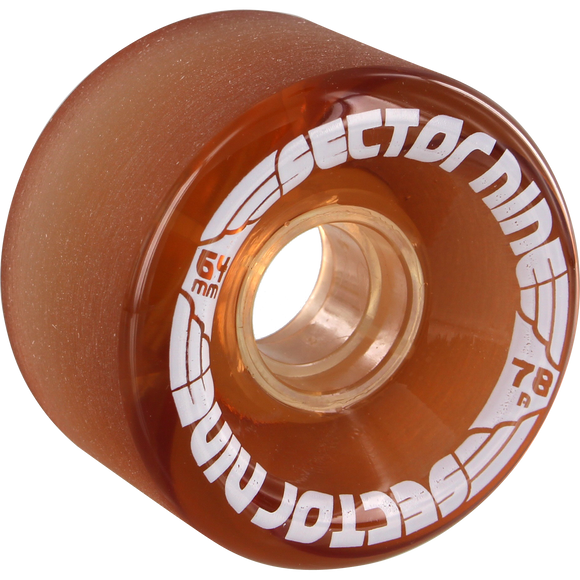 Sector 9 9 Ball 64mm 78a Clear Amber Longboard Wheels (Set of 4) | Universo Extremo Boards Skate & Surf