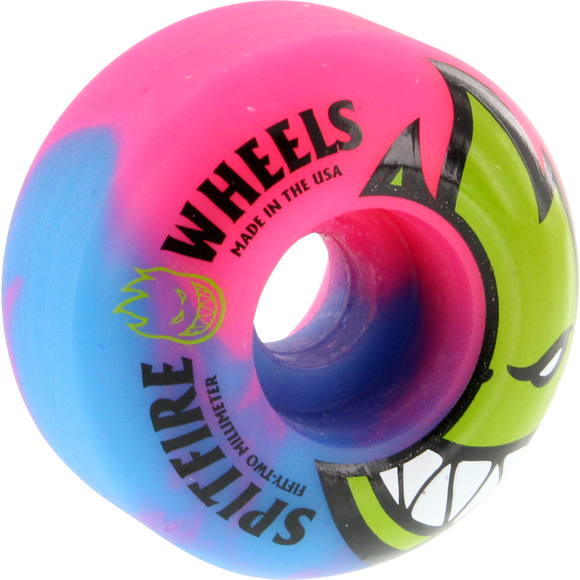 Spitfire Bighead Psyclone Swirl 52mm Blue/Pink/Green Skateboard Wheels (Set of 4) | Universo Extremo Boards Skate & Surf