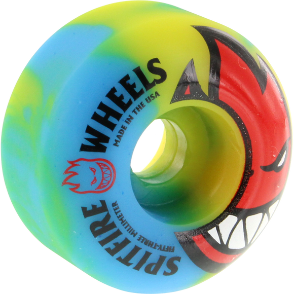 Spitfire Bighead Sunburn Swirl 53mm Yellow/Blue/Red Skateboard Wheels (Set of 4) | Universo Extremo Boards Skate & Surf