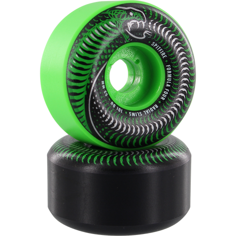 Spitfire F4 101a Radial Slim 53mm Venomous Mash Green/Black Skateboard Wheels (Set of 4)