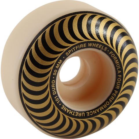 Spitfire F4 101a Classic Swirl 50mm White W/Bronze Skateboard Wheels (Set of 4)