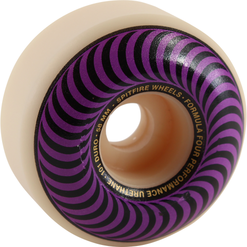 Spitfire F4 101a Classic Swirl 58mm White W/Purple Skateboard Wheels (Set of 4)