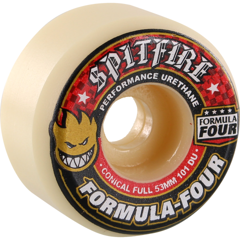 Spitfire Formula 4 101a Conical Full 53mm White W/Red Skateboard Wheels (Set of 4) | Universo Extremo Boards Skate & Surf