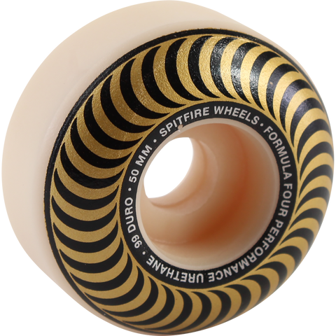 Spitfire F4 99a Classic Swirl 50mm White W/Bronze Skateboard Wheels (Set of 4)