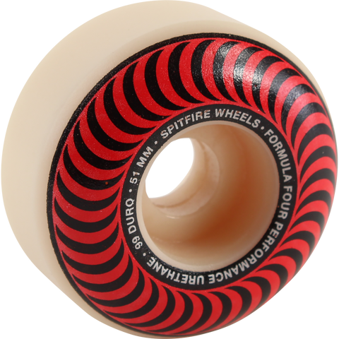 Spitfire F4 99a Classic Swirl 51mm White W/Red Skateboard Wheels (Set of 4)