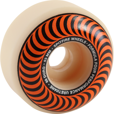 Spitfire F4 99a Classic Swirl 53mm White W/Orange Skateboard Wheels (Set of 4)