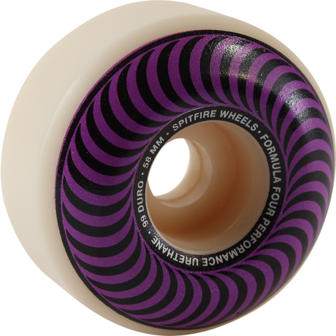 Spitfire F4 99a Classic Swirl 58mm White W/Purple Skateboard Wheels (Set of 4)