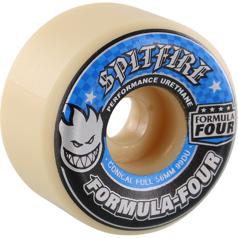 Spitfire F4 99a Conical Full 56mm White W/Blue Skateboard Wheels (Set of 4)