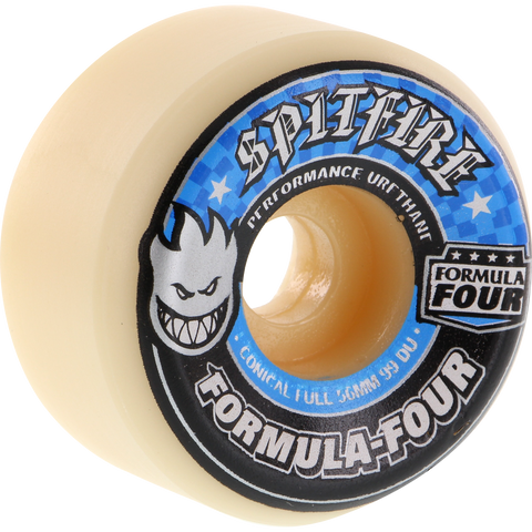 Spitfire F4 99a Conical Full 58mm White W/Blue Skateboard Wheels (Set of 4)