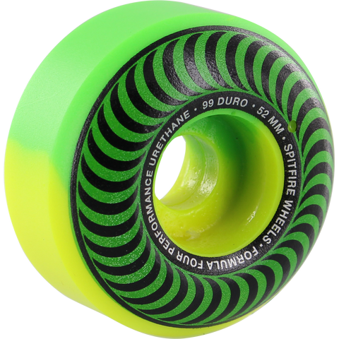Spitfire F4 99a Classic 52mm Swirl Green/Yellow Skateboard Wheels (Set of 4)