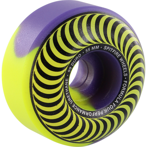 Spitfire F4 99a Classic 55mm Swirl Yrl/Pur Skateboard Wheels (Set of 4)
