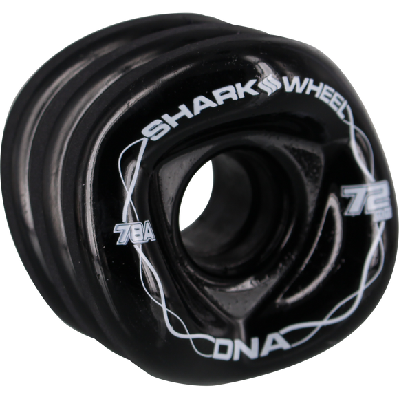 Shark Dna 72mm 78a Solid Black/White Longboard Wheels (Set of 4)