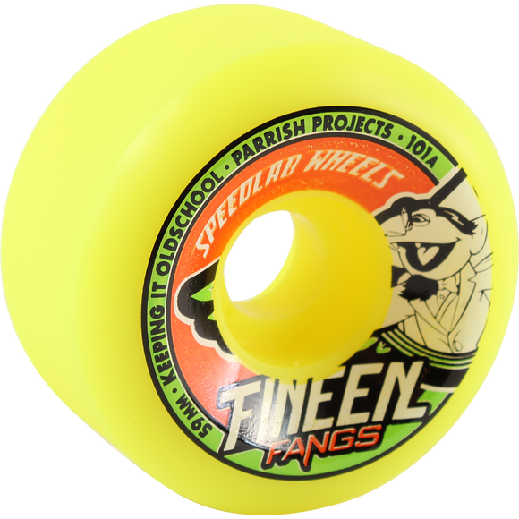 Speedlab Fangs 59mm 101a Yellow Skateboard Wheels (Set of 4)