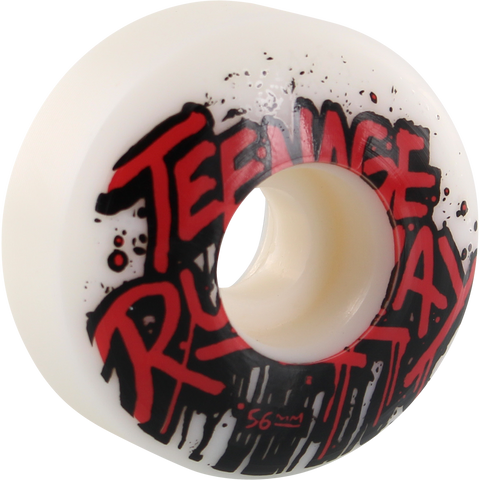 Teenage Runaway Tru Basic Logo 56mm White/Red/Black Skateboard Wheels (Set of 4)