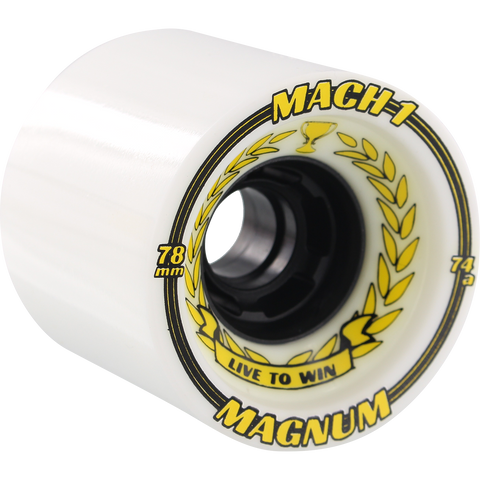 Venom Magnum Mach-1 78mm 74a White/Black Longboard Wheels (Set of 4)