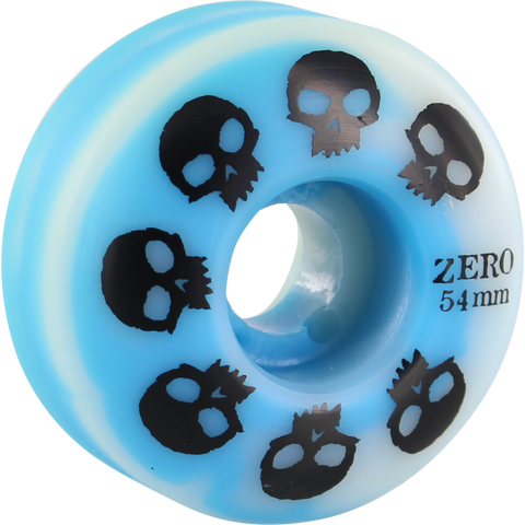 Zero Multi-Skull 54mm Blue/White Swirl Skateboard Wheels (Set of 4)