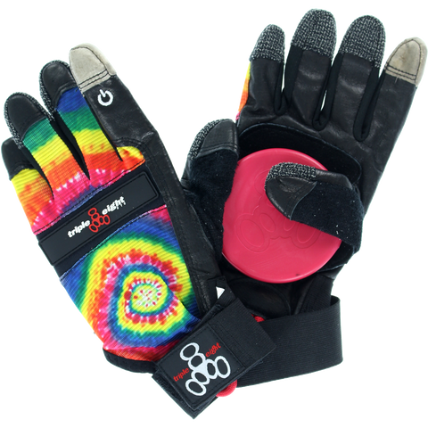 Triple 8 Downhill Slide Gloves XSm-Tie Dye/Black  | Universo Extremo Boards Skate & Surf