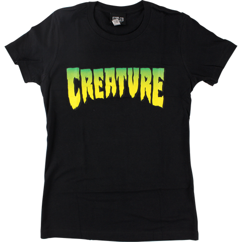 Creature Logo Girls T-Shirt - Size: SMALL Black