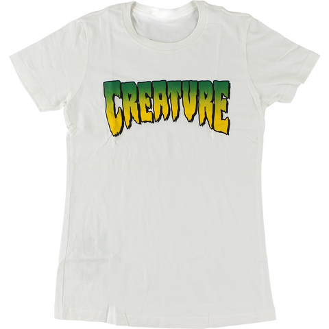Creature Logo Girls T-Shirt - Size: LARGE White
