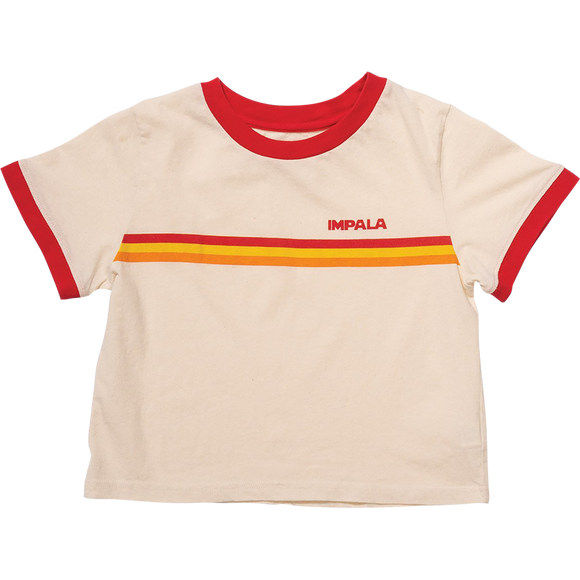 Impala Ringer Tee Girls T-Shirt - Size: X-SMALL Khaki/Red