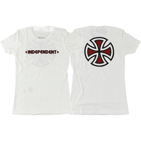 Independent Bar/Cross Girls T-Shirt - Size: MEDIUM White