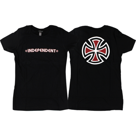 Independent Bar/Cross Girls T-Shirt - Size: LARGE Black