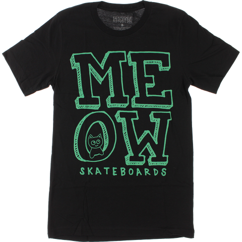 Meow Stacked Logo T-Shirt - Size: X-LARGE Black