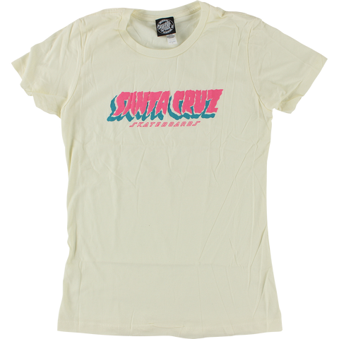Santa Cruz Flow Strip Girls T-Shirt - Size: MEDIUM Ivory