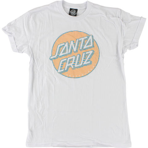 Santa Cruz Lined Dot Girls T-Shirt - Size: MEDIUM White
