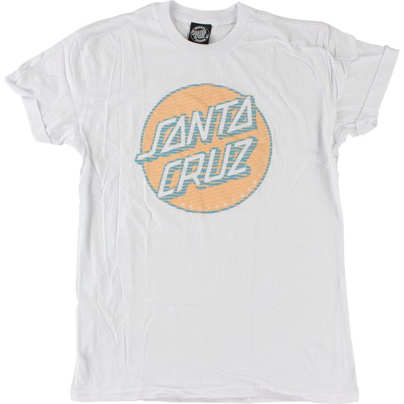 Santa Cruz Lined Dot Girls T-Shirt - Size: LARGE White