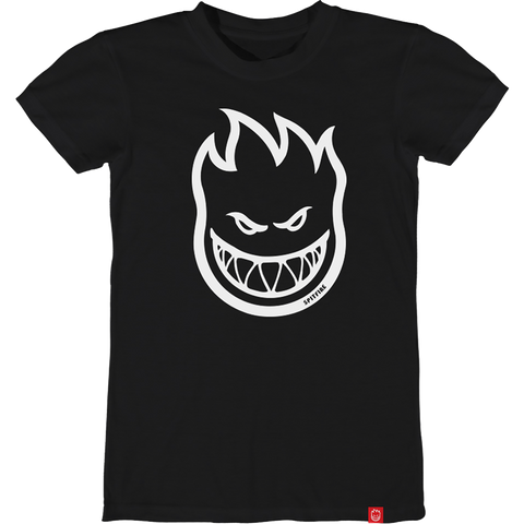 Spitfire Bighead Girls T-Shirt - Size: LARGE Black/White