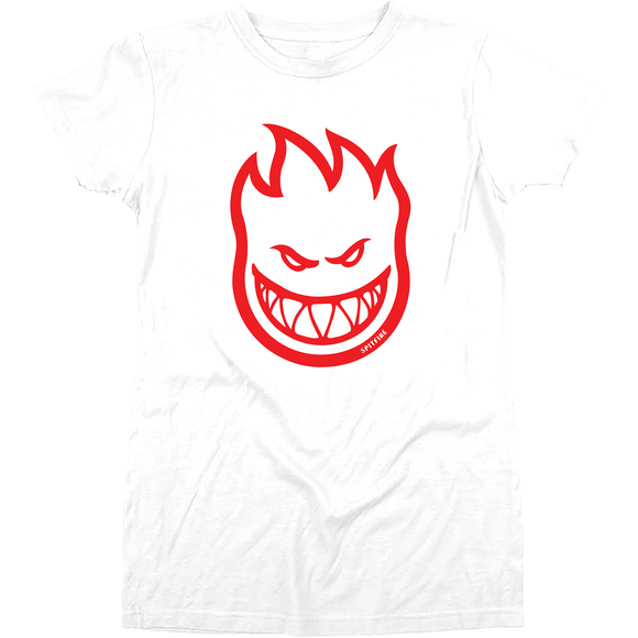 Spitfire Bighead Girls T-Shirt - Size: LARGE White/Red