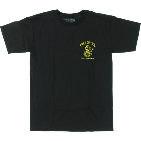 T-Shirt 5boro Don'T Tread On Me  Short Sleeve S-Black/Yellow - Universo Extremo Boards