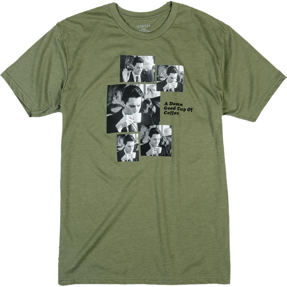 Hab/Twin Peaks Cooper Coffee Sequence T-Shirt - Size: MEDIUM Olive