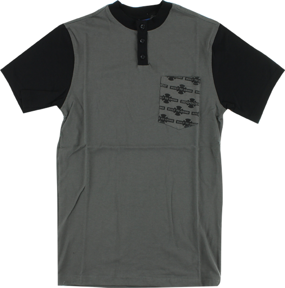 Independent OG Pattern Henley T-Shirt - Size: SMALL Dk.Grey/Black