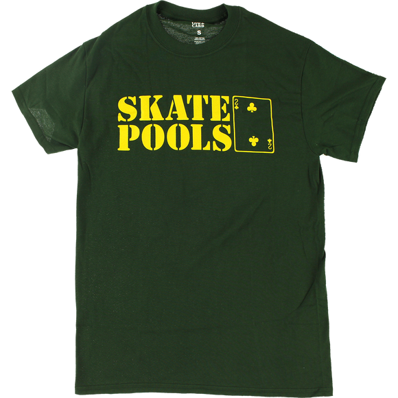 Lowcard Skate Pools T-Shirt - Size: MEDIUM Forest Green/Yellow