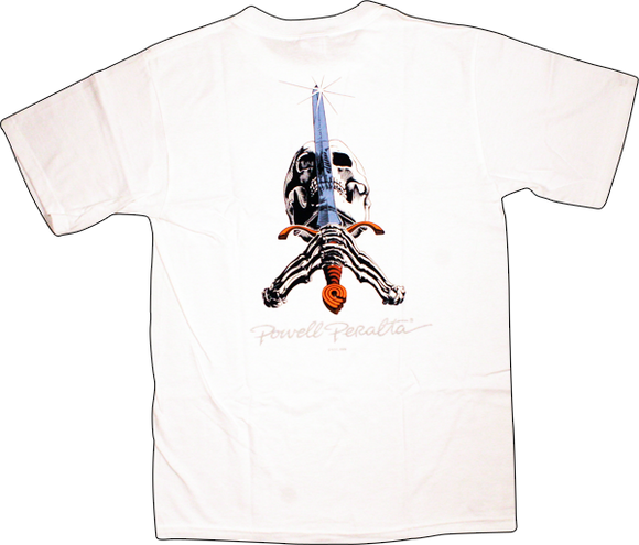 Powell Peralta Skull & Sword T-Shirt - Size: MEDIUM White | Universo Extremo Boards Skate & Surf