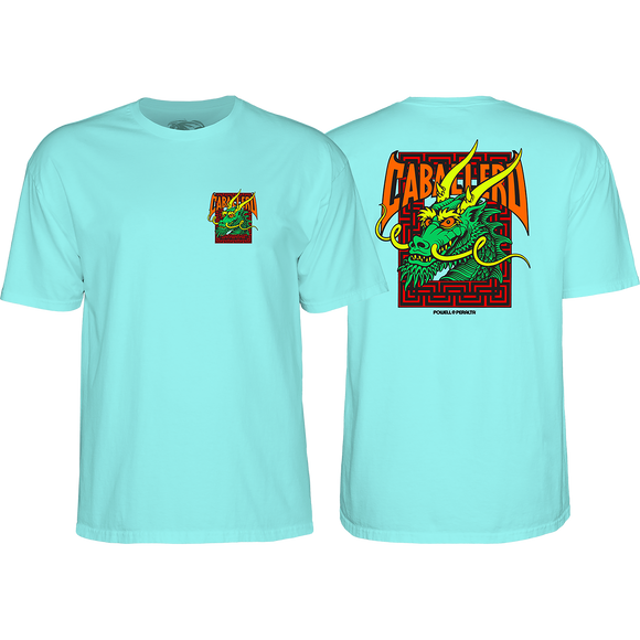 Powell Peralta Cab Street Dragon T-Shirt - Size: LARGE Celadon Green