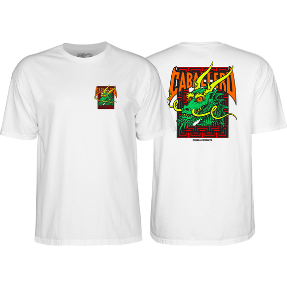 Powell Peralta Cab Street Dragon T-Shirt - Size: LARGE White