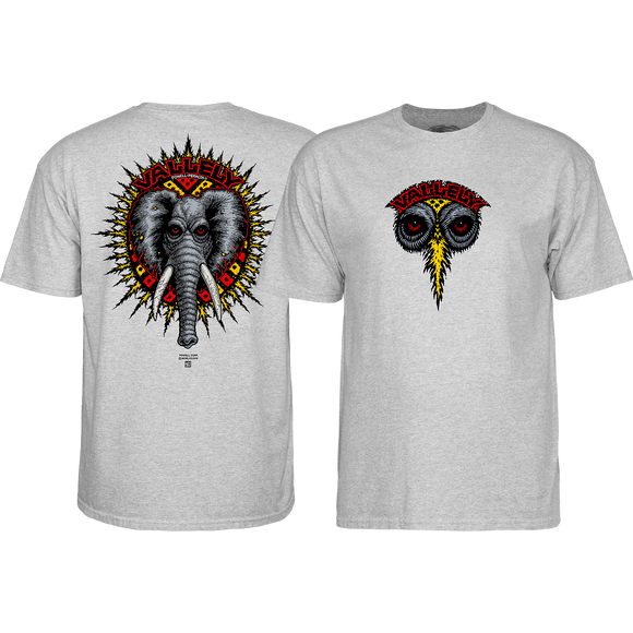 Powell Peralta Vallely Elephant T-Shirt - Size: SMALL Grey Heather