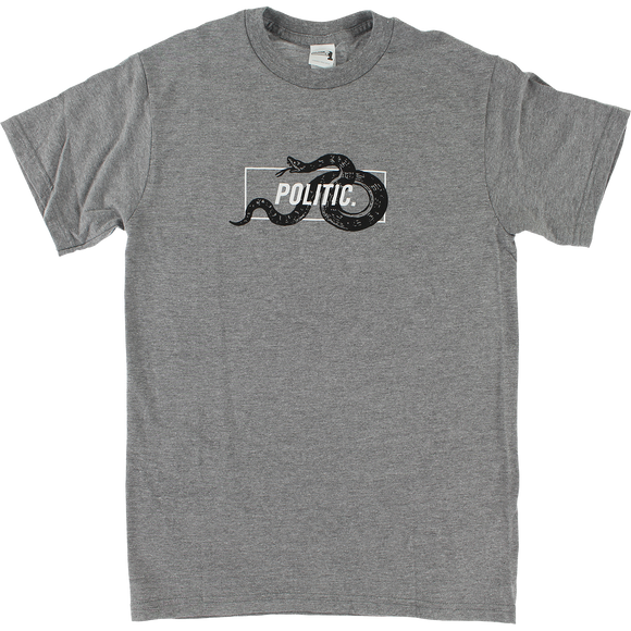 Politic Snake In A Box T-Shirt - Size: MEDIUM Heather Grey