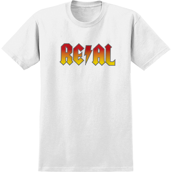 Real Deeds Highway To Hell T-Shirt - Size: SMALL White/Red Yellow Fade