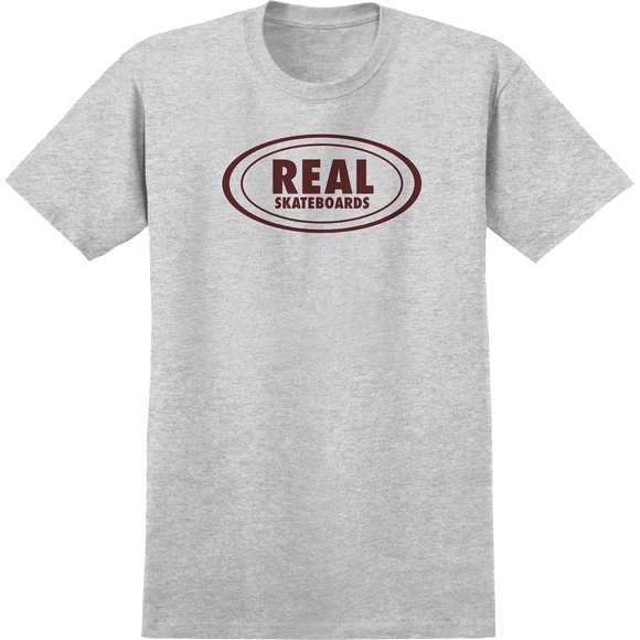 Real Oval T-Shirt - Size: SMALL  Ath.Heather/Burgundy